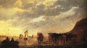CUYP, Aelbert Herdsman with Cows by a River dfg painting